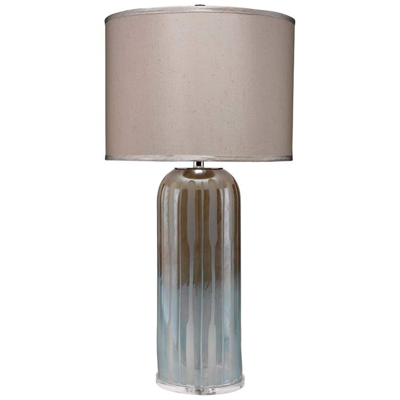 Jamie Young Ethereal Taupe and Opal Glass Table