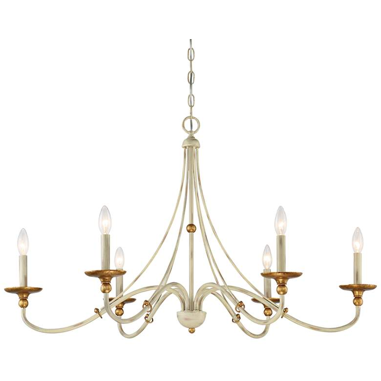 "Westchester County 40""W Farmhouse White 6-Light Chandelier"