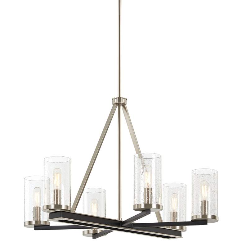 "Cole's Crossing 26""W Coal Brushed Nickel 6-Light Chandelier"