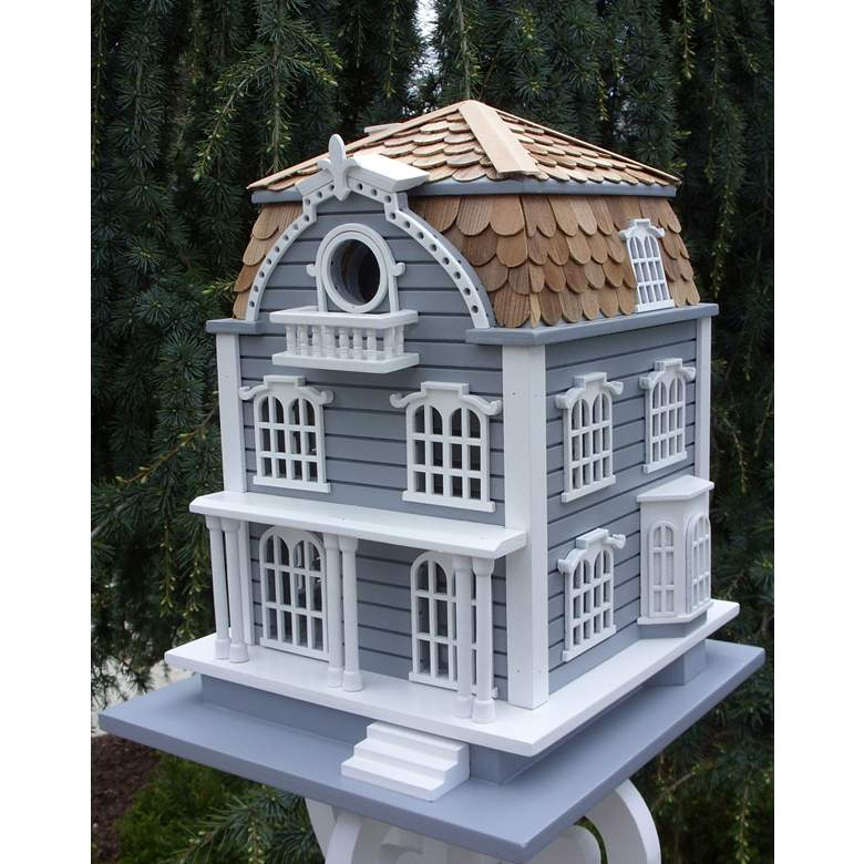 Sag Harbor Blue and White Wood Birdhouse with Mansard Roof