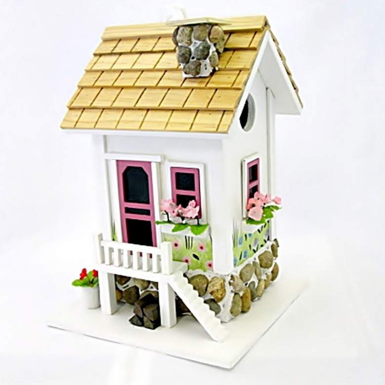 May Cottage White Wood and Stone Birdhouse
