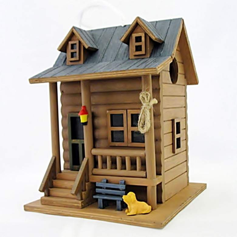 Log Cabin Brown and Blue Wood Hanging Birdhouse