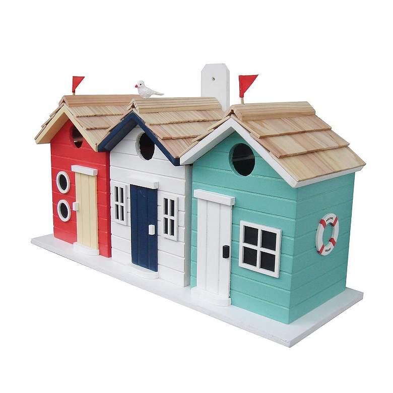 Brighton Beach Huts Multi-Color Wood Birdhouse