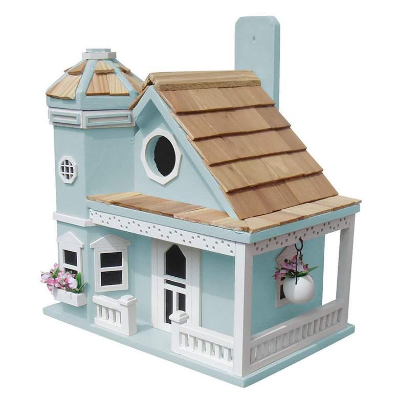 Flower Pot Cottage Blue Wood Birdhouse
