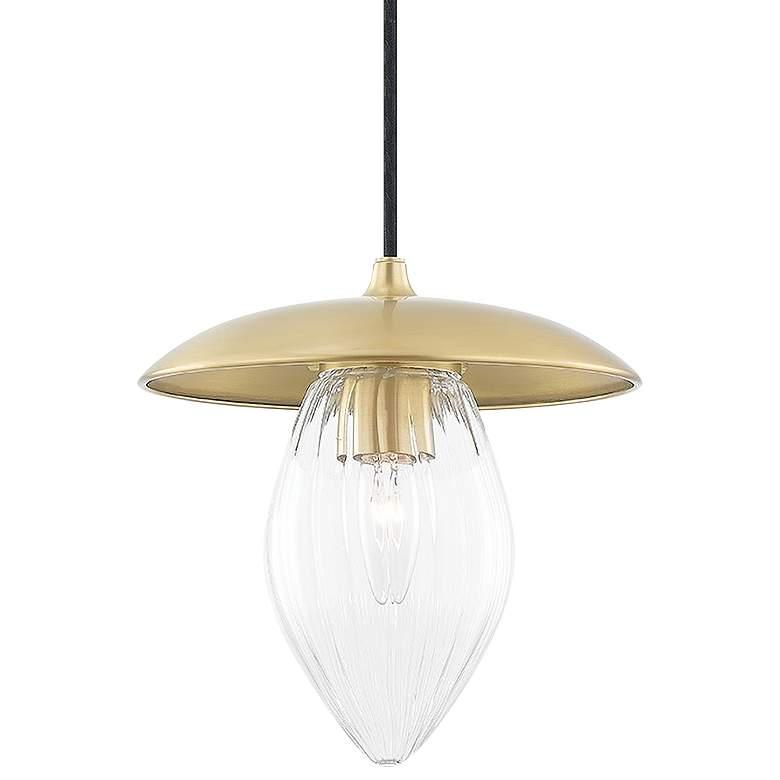 "Mitzi Lana 9"" Wide Aged Brass Mini Pendant Light"