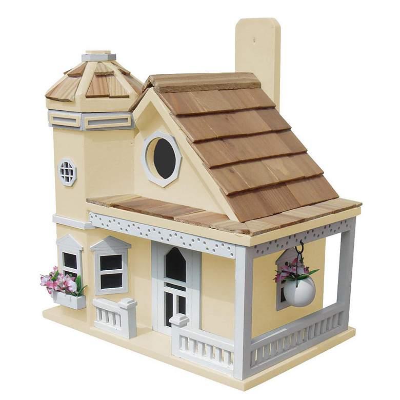 Flower Pot Cottage Yellow Wood Birdhouse