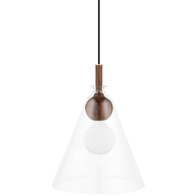 """Mitzi Dani 14"""" Wide Aged Brass Bell-Shaped Pendant Light"""