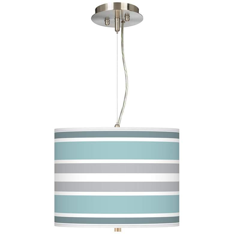 "Multi Color Stripes Giclee 13 1/2"" Wide Pendant"