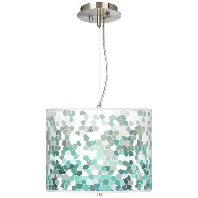 "Aqua Mosaic Giclee 13 1/2"" Wide Pendant Chandelier"