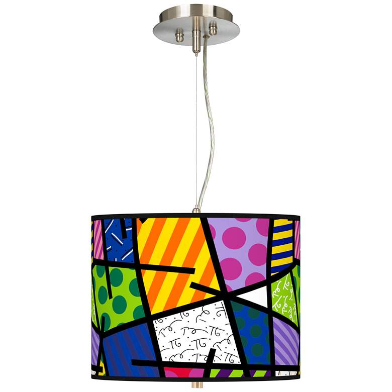 """Romero Britto Abstract Giclee 13 1/2"""" Wide Pendant Chandelier"""