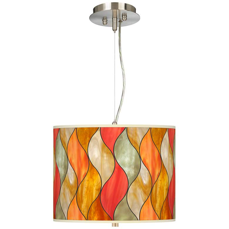 """Flame Mosaic Giclee 13 1/2"""" Wide Pendant Chandelier"""