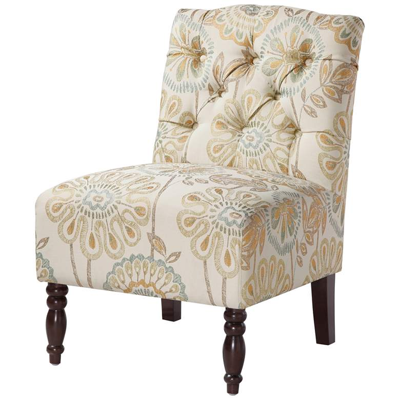 Lina Neutral Multi-Color Button Tufted Armless Accent Chair