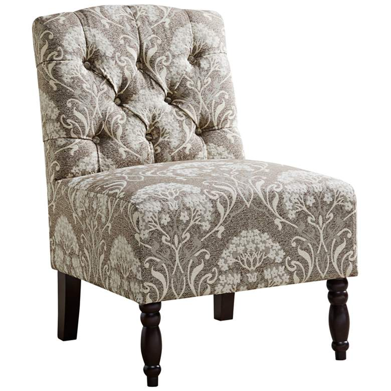 Lina Taupe Button Tufted Armless Accent Chair