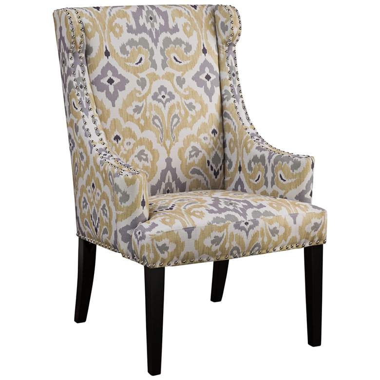 Lucy Yellow and Gray Wingback Curved Arms Accent Chair