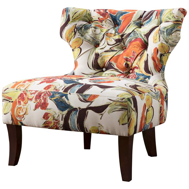 Bree Multi-Color Tufted Hourglass Armless Accent Chair