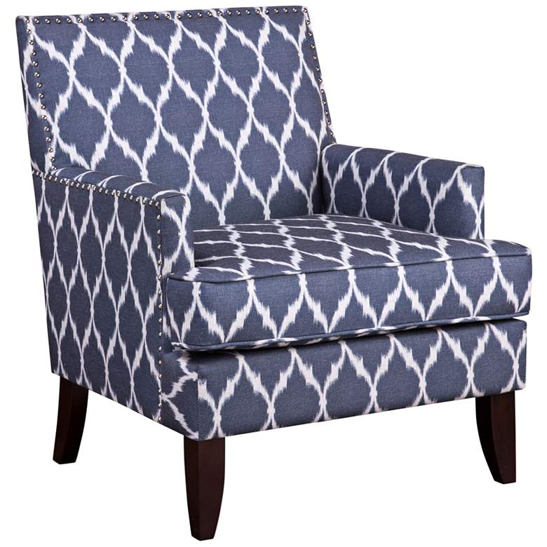 Charlie Blue and White Track Arm Club Chair