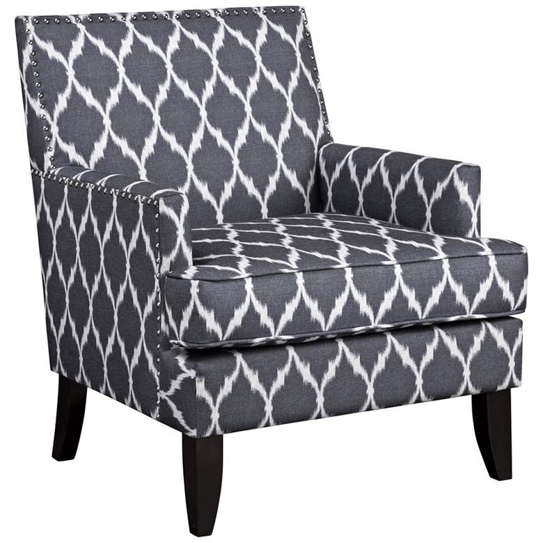 Charlie Gray and White Track Arm Club Chair