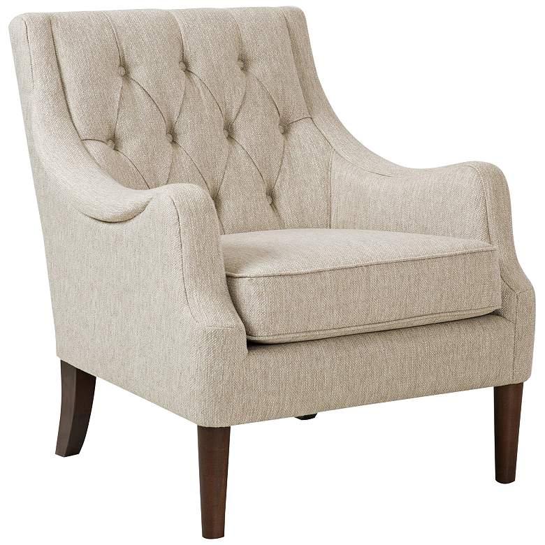 Elle Beige Diamond Tufted Accent Chair