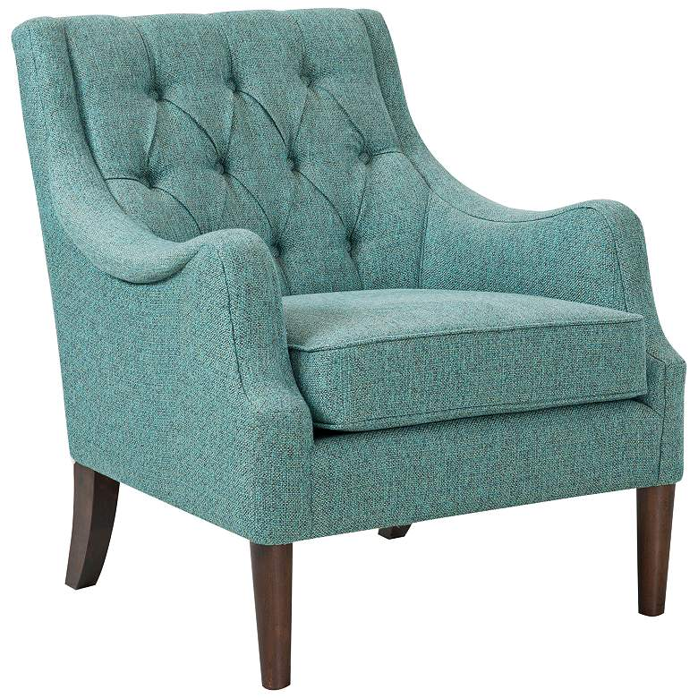 Elle Teal Diamond Tufted Accent Chair