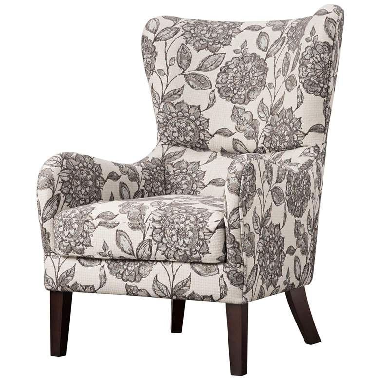 Leda Gray Multi-Color Swoop Wingback Accent Chair