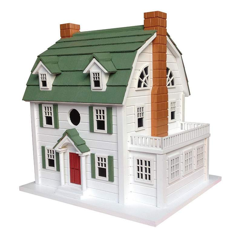 Dutch Colonial White Wood Birdhouse with Green Roof
