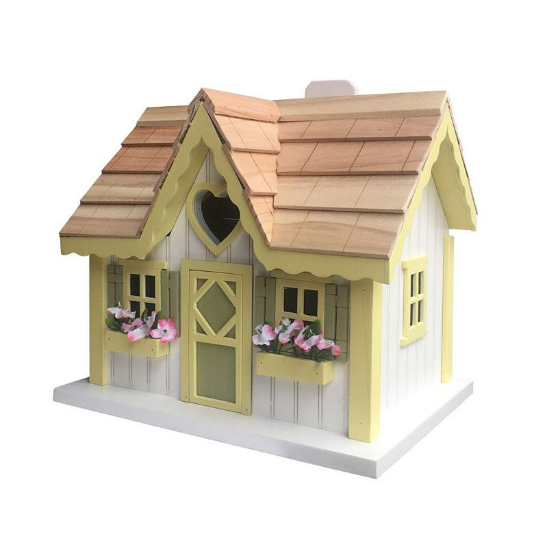 Sweetheart Cottage White and Yellow Wood Birdhouse