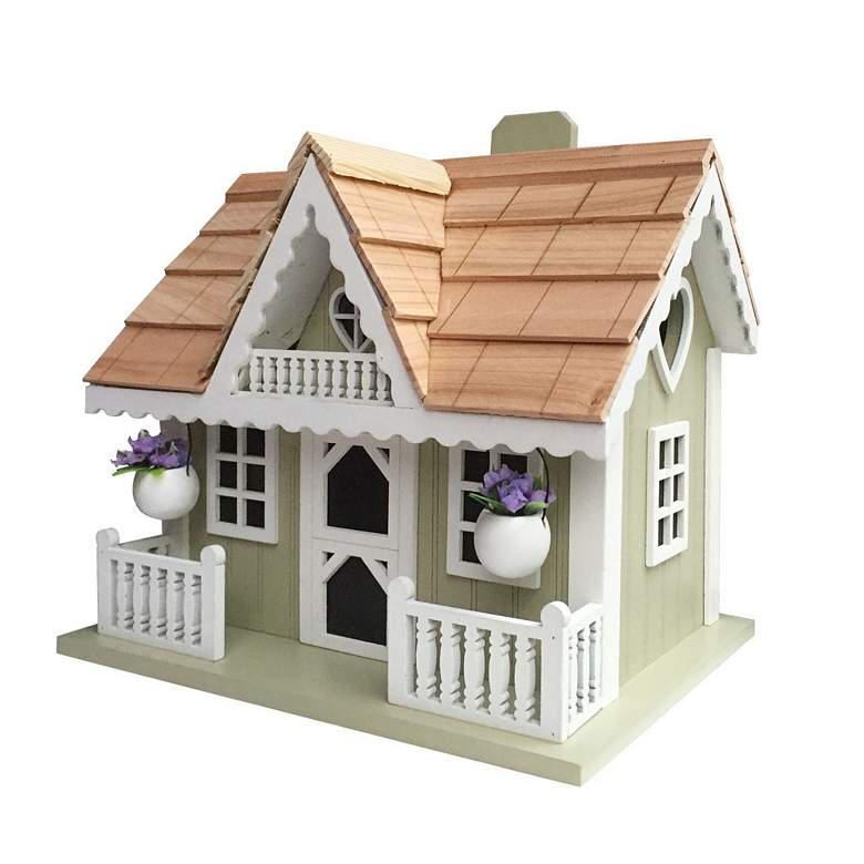Rosemary Cottage White and Green Wood Birdhouse