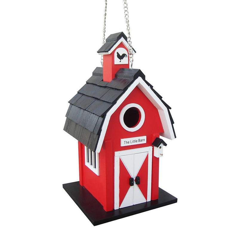 Barn Red and Black Wood Hanging Birdhouse
