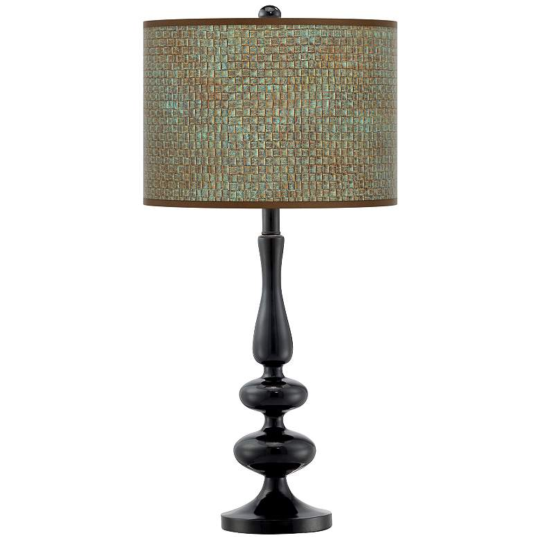 Interweave Patina Giclee Paley Black Table Lamp