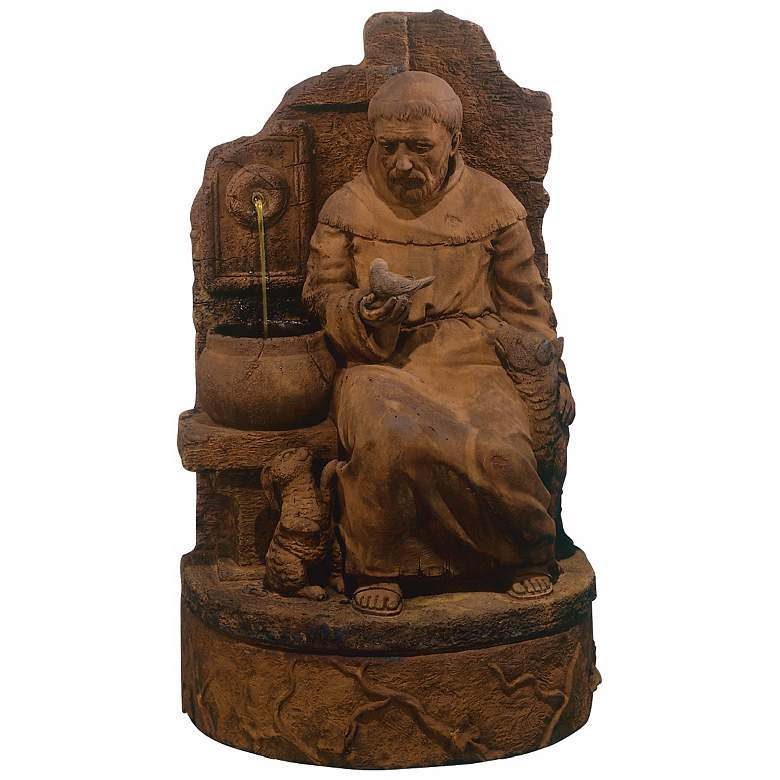 """St. Francis of Assisi at the Well 38"""" High Garden Fountain"""