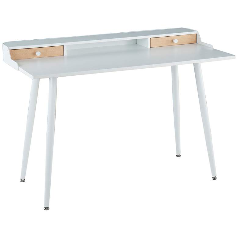 """Harvey 47 1/2"""" Wide White Wood and Metal Office Desk"""