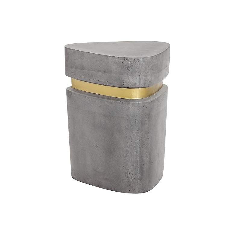 """Arturo 15"""" Wide Gold and Concrete Triangular End Table"""
