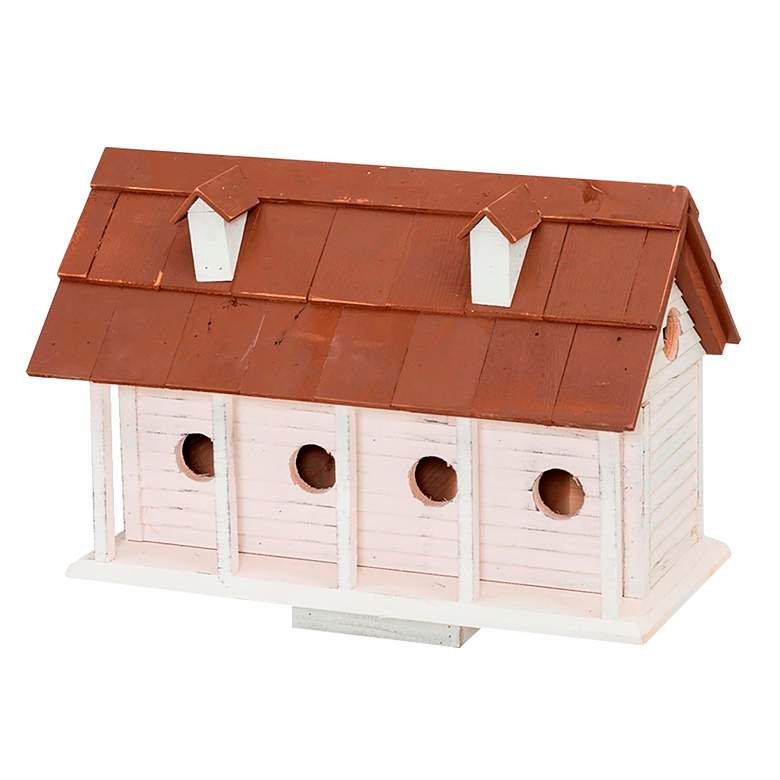 Martinsburg Manor White Wash 6-Room Birdhouse w/ Brown Roof