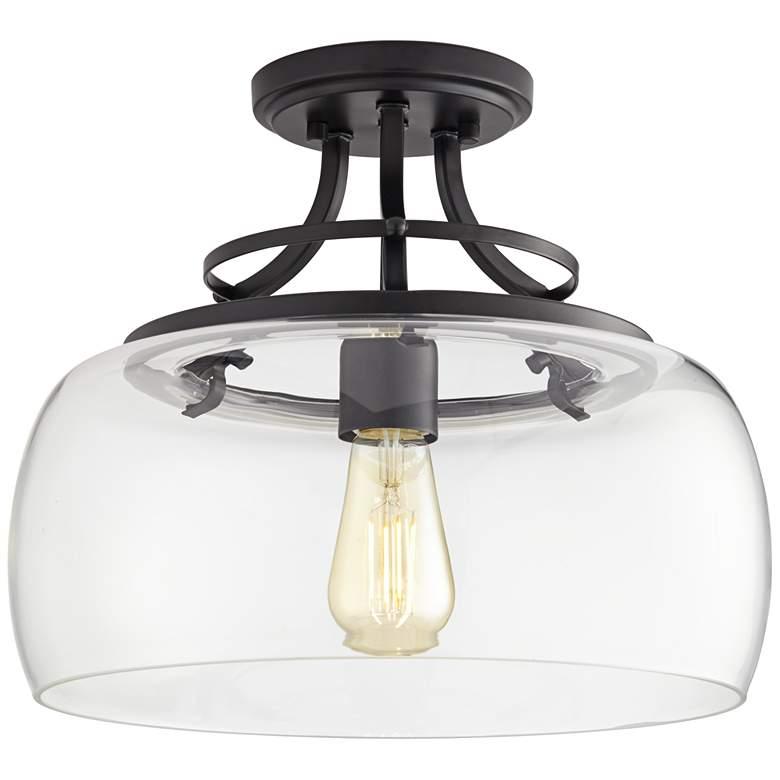 "Charleston 13 1/2"" Wide Black Clear Glass LED Ceiling Light"