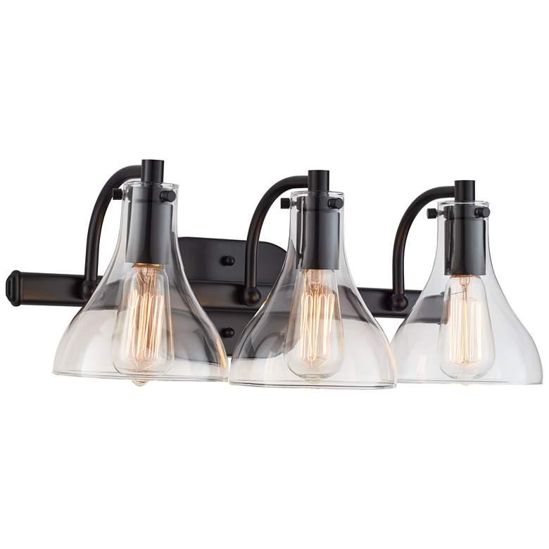 "Possini Euro Sorren 20 1/2"" Wide Black 3-Light Bath Light"