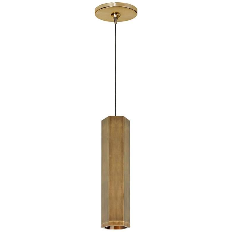 "Blok 3 1/4"" Wide Aged Brass LED Freejack Mini Pendant Light"