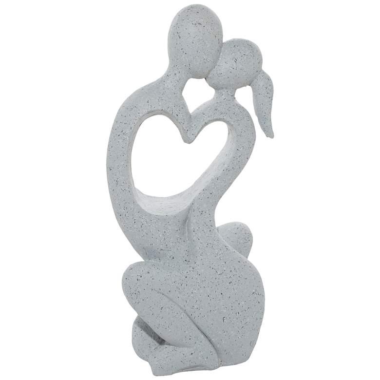 "Kissing Couple 36""H Gray Fiberglass Outdoor Garden Statue"