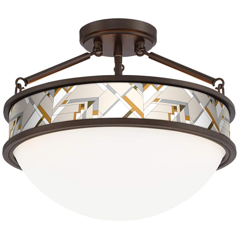 """Craftsman Mosaic Banded 16""""W Oil-Rubbed Bronze Ceiling Light"""