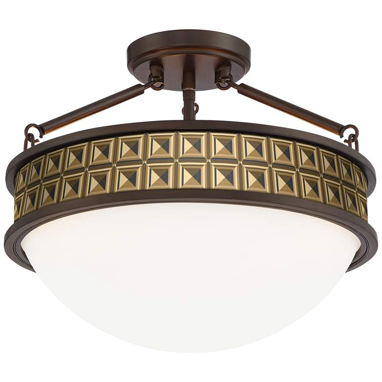 "Geometric Woodblocks Banded 16"" Wide Bronze Ceiling Light"