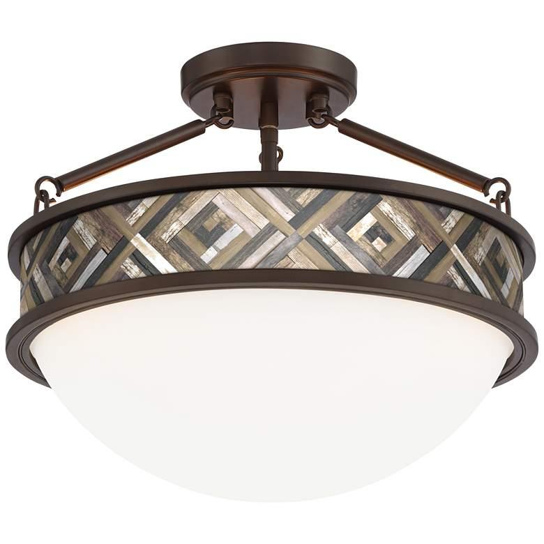 "Woodwork Diamonds Banded 16"" Wide Bronze Ceiling Light"