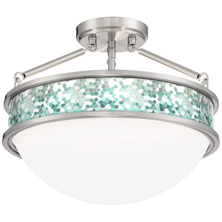 "Aqua Mosaic Banded 16"" Wide Brushed Nickel Ceiling"