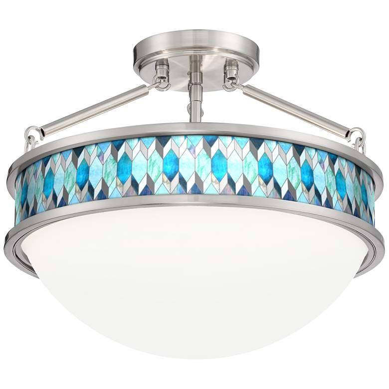 """Blue Tiffany-Style Banded 16""""W Brushed Nickel Ceiling Light"""