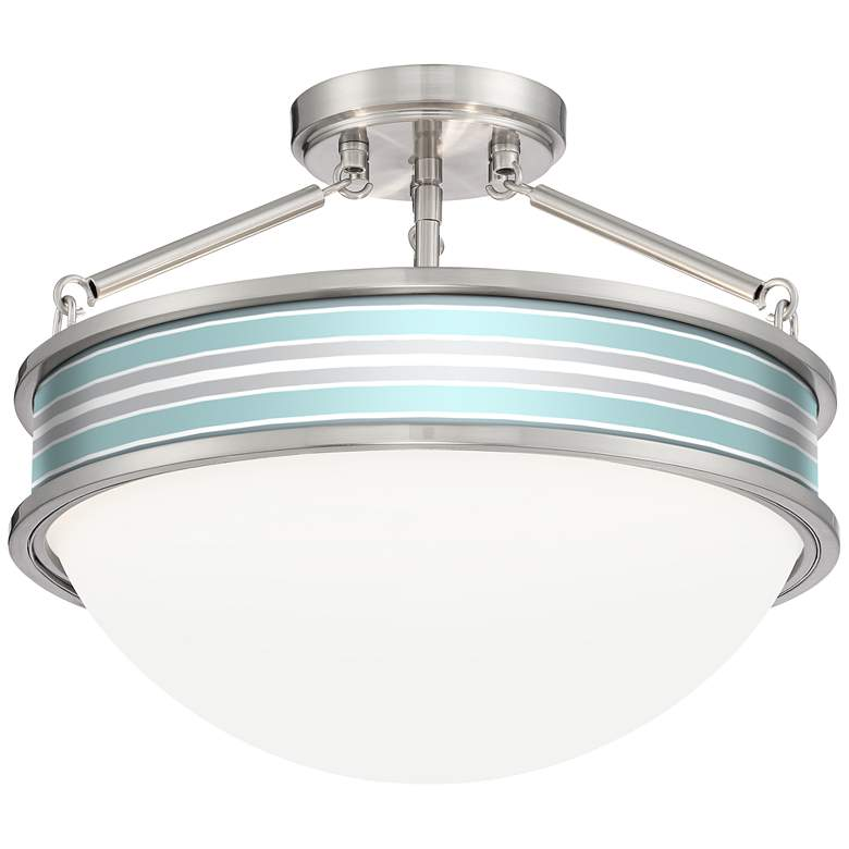 "Multi Color Stripes Banded 16""W Brushed Nickel Ceiling"