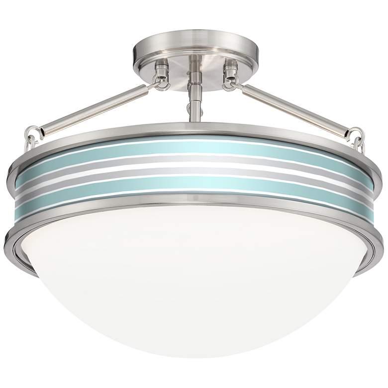 "Multi Color Stripes Banded 16""W Brushed Nickel Ceiling Light"