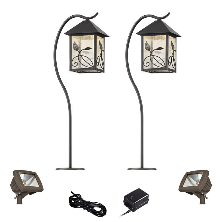 French Garden Bronze 6-Piece LED Path and Flood Light Set