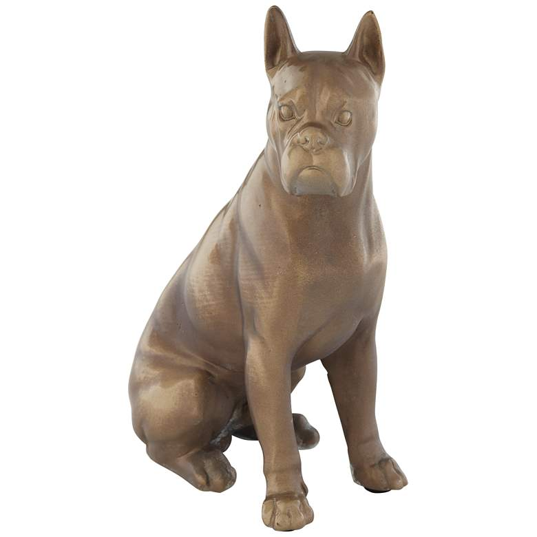 "Matte Brushed Brown and Gold 7"" High Dog Figurine"