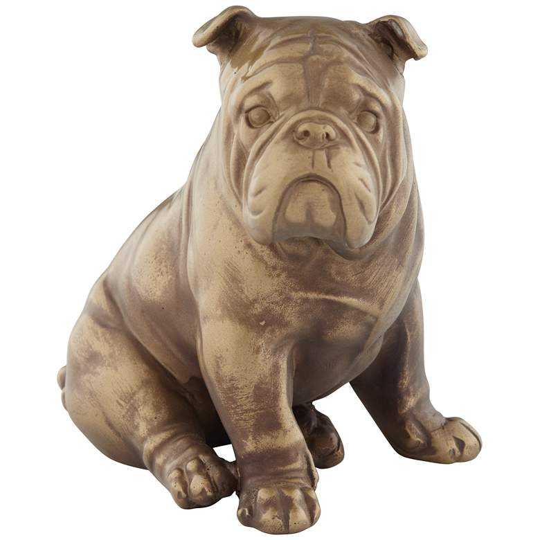 """Matte Brushed Brown and Gold 4 1/4"""" Wide Bull Dog Figurine"""