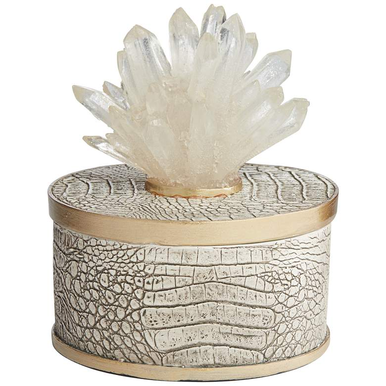 "Crystal Flower 6 1/2"" High Matte Brown Decorative Box"