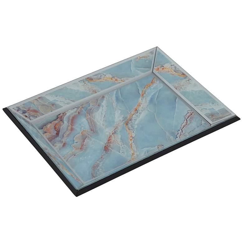 Shiny Polished Blue Glass Decorative Tray