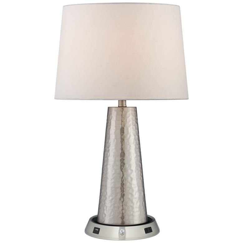 Silver Leaf Table Lamp with Dimmable USB Workstation Base